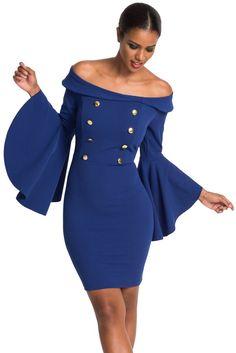 21b1bb60be3 Robe Bleu Moulante Bouton a Double Boutonnage Vintage