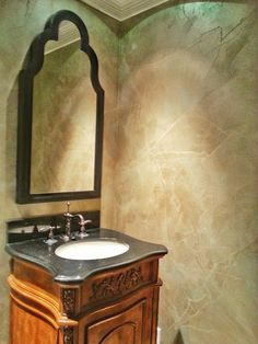 Tissue Paper and Metallic Plaster Finish | Modern Masters Project by Decorative & Faux Finishes | Creative Bath Walls Inspiration on the Cafe Blog