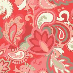 Vintage Verona Main Coral by Emily Taylor by HeartandHomeFabrics