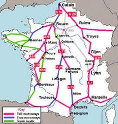 Main routes across France, avoiding Paris Germany - France - Spain