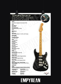 A must have for any DAVID GILMOUR fan! Great for framing and hanging and also makes the perfect gift for all DAVID GILMOUR fans. Gibson Guitars, Fender Guitars, David Gilmour Guitar, Pink Floyd Art, Fender Electric Guitar, Guitar Posters, Famous Guitars, Stratocaster Guitar, Guitar Wall