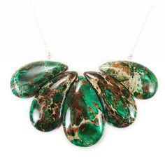 Green statement necklace  gemstone bib by BijouxDesignsStudio, $58.00