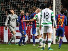 Lionel Messi of Barcelona (L) celebrates scoring his sides second goal with his Barcelona team mates during the UEFA Champions League Group C match between Celtic FC and FC Barcelona at Celtic Park Stadium on November 23, 2016 in Glasgow, Scotland.