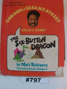 Six-Button Dragon vintage Sesame Street 1971 Gordon of Sesame Street tells the story of The Six-Button Dragon rare book 45 rpm record set by VigorouslyVintage on Etsy