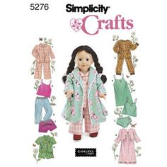 """Simplicity Pattern 5276 for 18"""" Doll Clothes"""