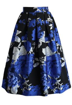 Blue Bouquet Jacquard Midi Skirt - New Arrivals - Retro, Indie and Unique Fashion