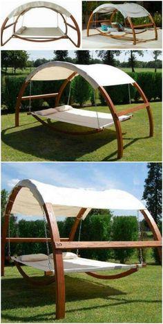 This Swing Hammock Bed Is So Relaxing - Hammock - Ideas of Hammock Diy Hammock, Backyard Hammock, Hammock Swing, Backyard Patio, Backyard Landscaping, Hammock In Bedroom, Outdoor Hammock Bed, Sleeping Hammock, Outdoor Swings