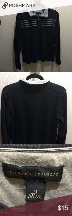 Banana Republic half zip sweater. Slim/snug fit. Navy Blue and Gray; Good condition; 100% Cotton; Worn 3 times Banana Republic Sweaters Zip Up