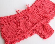 powder pink Crochet Beach Shorts Lace Shorts by senoAccessory