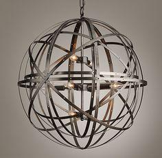 "Entry way RH baby - $396 26""x 28""Orbital Sphere Large Pendant Pewter"