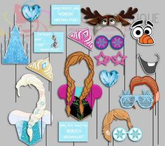 Here is a beautiful party props as a digital file.  Totally 16 different images. Ice castle has two different sizes.  * Emailed to you as a high