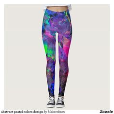 abstract pastel colors design leggings