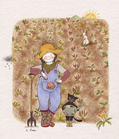 Happy farmer girl with her cat