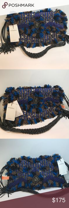 "NWT Antik Batik Handbag Unbelievable NWT Antik Batik Handbag. Designed in France made in India. Beautifully trimmed in Buttery Goat Leather. Beaded. Braided strap 18"" drop. Braided tassels. Won't last! Antik Batik Bags Crossbody Bags"