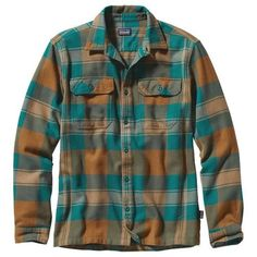 Patagonia Men's Long-Sleeved Fjord Flannel Shirt ❤ liked on Polyvore featuring men's fashion, men's clothing, men's shirts and men's casual shirts