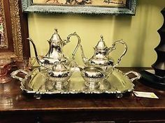Vintage William Rogers 5 Piece Coffee Tea Set Silver Service in Antiques, Silver, Silverplate, Tea/Coffee Pots & Sets | eBay