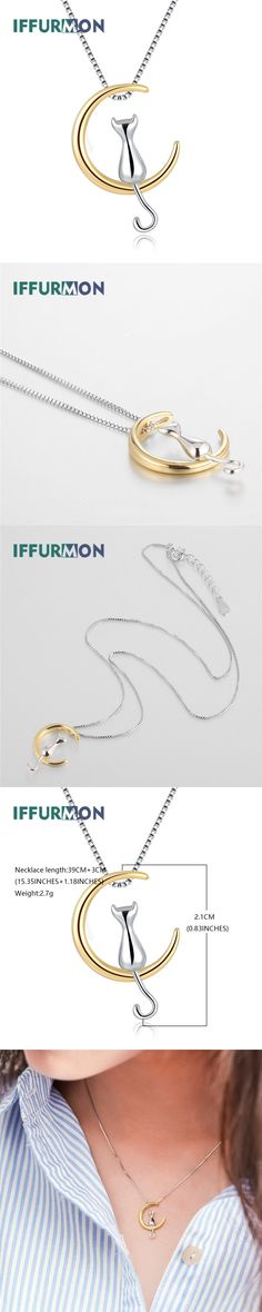 IFFURMON Fine Necklaces 925 Sterling Silver Pendants Wedding Party Women Necklace Gold Plated Summer Animal Jewelry Accessories
