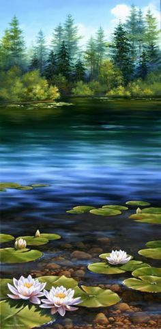 Lilies Pond, Oil painting #OilPaintingOleo
