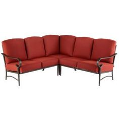Hampton Bay Oak Cliff 3-Piece Aluminum Fully Cushioned Stamped Back Small Space Outdoor Patio Sectional with Chili Red Cushions-186-411-3SEC - The Home Depot