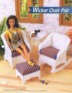 labores de esther. todo para barbie: set butacas = Barbie wicker chairs in plastic canvas