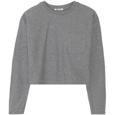 T by Alexander Wang Cotton-blend sweatshirt (120 CAD) ❤ liked on Polyvore featuring tops, hoodies, sweatshirts, sweaters, outerwear, grey, grey sweat shirt, boxy top, grey sweatshirt and t by alexander wang sweatshirt