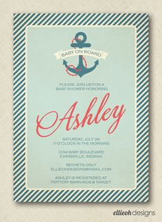 nautical baby shower invite vintage inspired by ellieohdesigns
