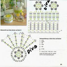PELA Crochet Doily Diagram, Freeform Crochet, Crochet Chart, Crochet Motif, Crochet Designs, Crochet Doilies, Crochet Flowers, Crochet Patterns, Crochet Vase