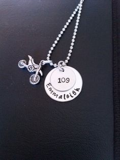 """Custom """"number"""" and """"name"""" Dirt bike Necklace on Etsy, $10.00"""