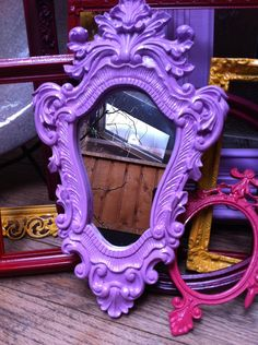 Reminds me of all those Ugly thrift store mirrors!Upcycled Ornate Mirror in Pink/Lavender, Little Bo Peep, Funky Home Decor, Hollywood Regency Purple Love, All Things Purple, Purple Rain, Shades Of Purple, Purple Stuff, Ornate Mirror, Framed Mirrors, Mirror Mirror, Painted Mirrors