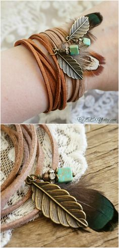 "Boho Jewelry ""Wild Spirit"", Beachy Feather Turquoise Brown Leather Wrap Bracelet Choker Necklace Armband Anklet Hair Accessory Gift ByLEXY"