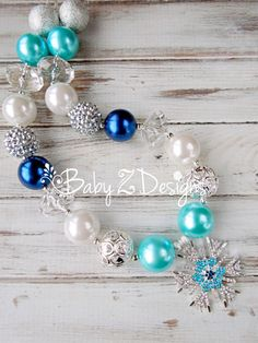 Snowflake Chunky Necklace in Silver White Navy and by babyzdesigns