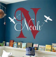 "Airplane Wall Name Decal - Initial and Name Monogram Wall Lettering for Baby Boy Nursery Plane 22""H x 32""W. $42.00, via Etsy."