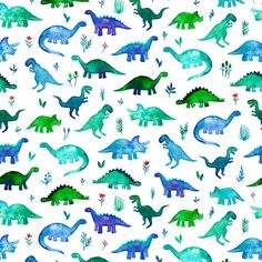 Tiny Dinos in Blue and Green on White fabric by micklyn on Spoonflower - custom fabric
