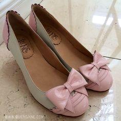 Sophie Pink  low heels vintage design leather shoes by QuieroJune