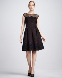 David Meister Signature  Floral-Jacquard Cocktail Dress