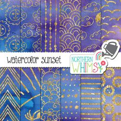 """Purple Digital Paper - """"Watercolor Sunset"""" - sun, cloud and geometric patterns in gold foil on a purple and blue background - commercial use"""