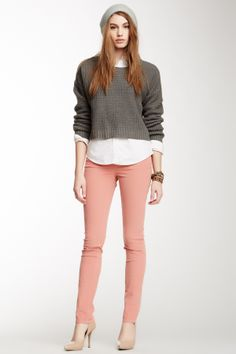 Pink skinnies, white oxford, grey sweater