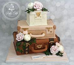 3 Tier Vintage Suitcase Wedding Cake With Blush Pink Roses,Peonies,Carnations And Ivy. - http://pontycarlocakes.com/3-tier-vintage-suitcase-wedding-cake-with-blush-pink-rosespeoniescarnations-and-ivy/ #Blush, #Blushpink, #Cake, #Cardiff, #Carnations, #Ganache, #Goldtrims, #Ivy, #Luggagelabels, #Peonies, #Peony, #Pink, #Pontycarlocakes, #Pontypridd, #Rose, #Roses, #Rustic, #Sharpedge, #Suitcase, #Vintage, #Weddingcake, #Whitewashedboard