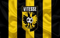 Download wallpapers SBV Vitesse, 4K, Dutch football club, logo, emblem, Eredivisie, Dutch football championship, Arnhem, Netherlands, silk texture, Vitesse FC
