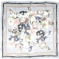Chanel Blue/Multicolor Silk Watercolor Camellia Scarf - $199.99