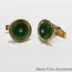 Vintage 1950s Genuine Jadeite Jade Retro Deco Diamond 14K Gold Mens Cufflinks