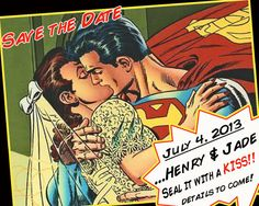 Superhero Wedding or Save The Date  Superman Custom Comic Book Kiss by SparksArts, $50.00