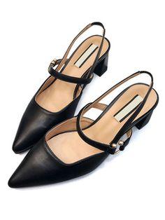 Zapatos de tacón de puntera puntiaguada de PU Color liso de tacón gordo 8f455873bd20