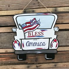 """Finished """"God Bless America"""" Truck Door Hanger – March 16 2019 at Painted Doors, Wooden Doors, Painted Signs, Wooden Letters, Wooden Signs, Burlap Door Hangers, Letter Door Hangers, Burlap Crafts, Pallet Crafts"""