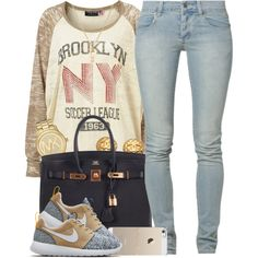 Brooklyn by oh-aurora on Polyvore featuring polyvore fashion style Topshop Cheap Monday NIKE Hermès Michael Kors Chanel ASOS