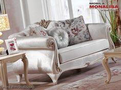 Canapea de lux alba pe stil clasic Lavinia pt. living elegant Design Case, Love Seat, Couch, Living Room, Elegant, Furniture, Home Decor, Simple Lines, Classy
