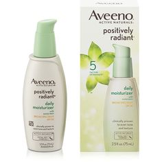 Enjoy more radiant skin. Aveeno Positively Radiant Daily Moisturizer SPF 30 contains Total Soy Complex and natural light diffusers to help even skin tone to reveal naturally radiant skin. Drug Store Face Moisturizer, Moisturizer For Dry Skin, Homemade Moisturizer, Aveeno Active Naturals, Dull Skin, Organic Skin Care, At Least