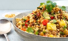 Healthy pork and pineapple fried rice recipe Healthy Meat Recipes, Mince Recipes, Healthy Family Meals, Pork Recipes, Cooking Recipes, Savoury Recipes, Delicious Recipes, Healthy Foods, Pineapple Fried Rice