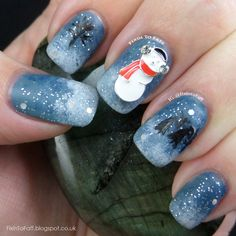 snow man and wintry background for nail art