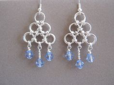 Blue Sky Chainmaille with Glass Bead Earrings, via Etsy.